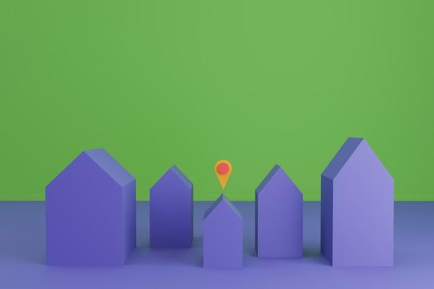 小さな家のある住宅の複雑な3 dレンダリング Premium写真