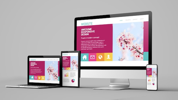 Responsive design website devices isolated on white background 3d rendering mockup Premium Photo