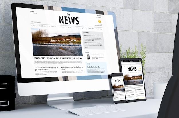 Responsive devices showing responsive newswebsite on desktop Premium Photo