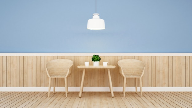Restaurant or coffee shop on blue wall design Premium Photo