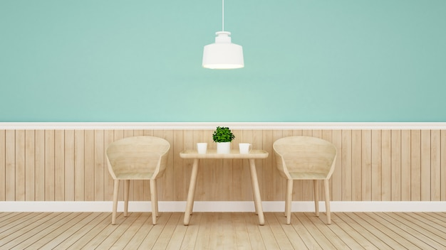 Restaurant or coffee shop on green wall design Premium Photo