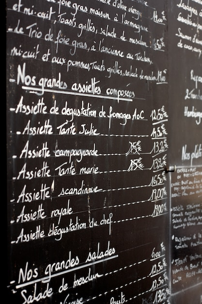 Restaurant menu board Free Photo