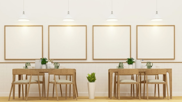 Restaurnat  or cafe and frame for artwork - 3d rendering Premium Photo