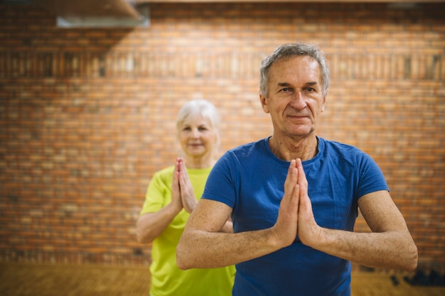 Retired couple in fitness center Free Photo
