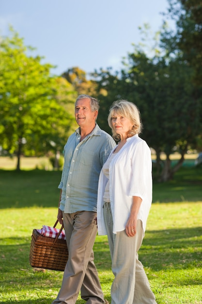 Retired couple looking for a place for picnicking Premium Photo