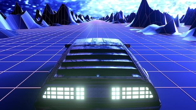 Ретро-футуристический научно-фантастический автомобиль в стиле 80-х. 3d рендеринг Premium Фотографии