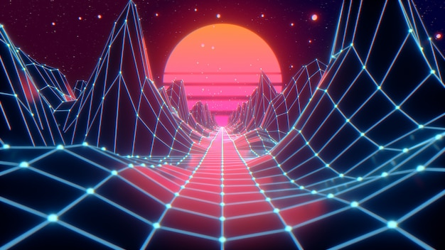 Retro futuristic flight in space with a polygonal mesh on the generated hills and floor. concept 80s 90s. Premium Photo