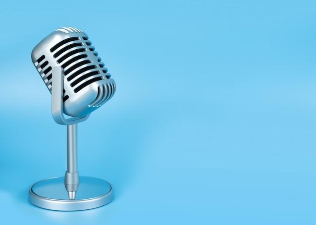 Retro microphone on blue Premium Photo