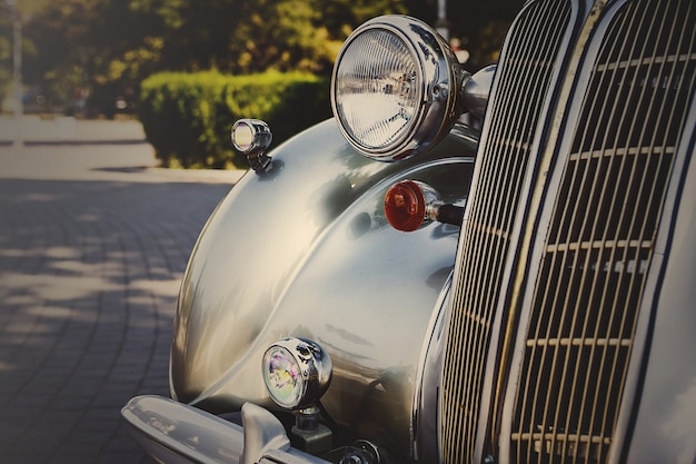 Retro postcard of the vintage car Premium Photo