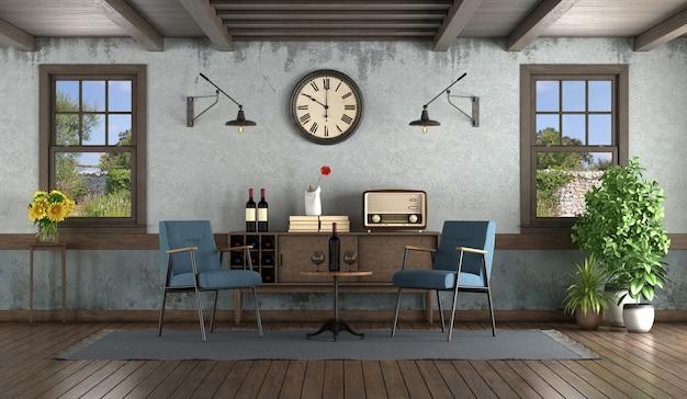 안락 의자, 찬장 및 목재 창문이있는 복고풍 거실 프리미엄 사진