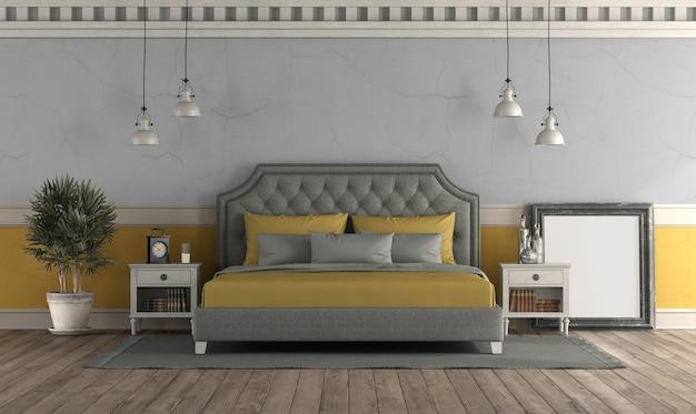오래 된 벽과 클래식 더블 침대와 레트로 스타일의 침실-3d 렌더링 프리미엄 사진