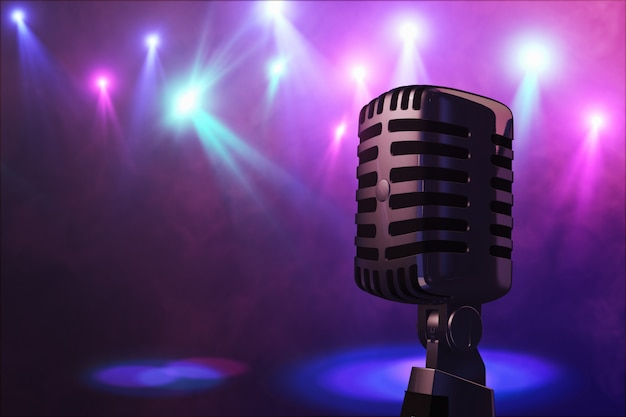 Retro style microphone on stage in the spotlight performance of the musical group. microphone for rock, rock'n'roll and rockabilly music. 3d rendering Premium Photo