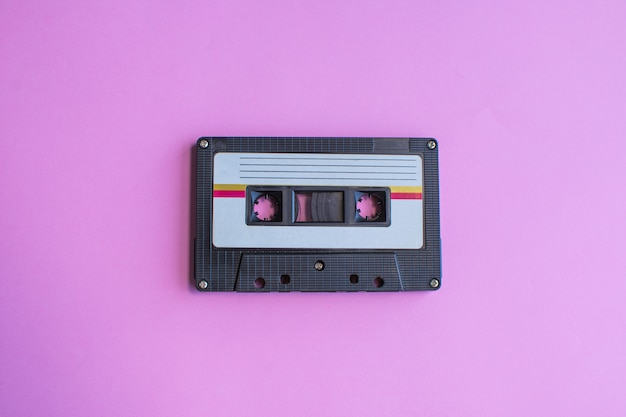 Retro of tape cassette on purple Premium Photo