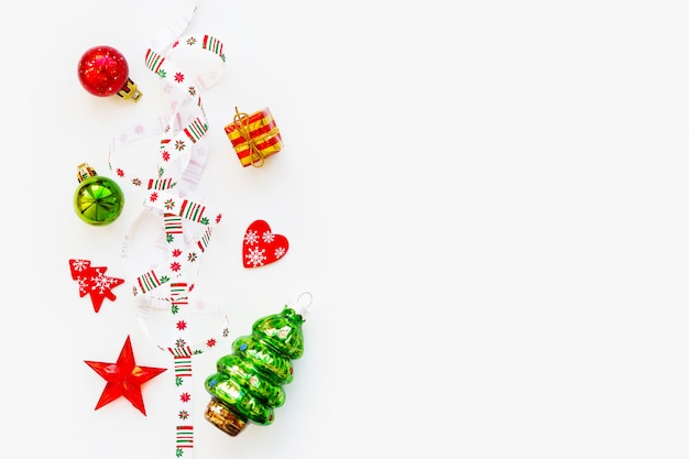 Ribbon with christmas pattern  nordic geometric snowflakes. Premium Photo