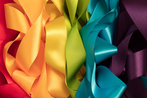 Ribbons forming rainbow colors Premium Photo