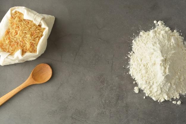 Rice flour and rice over gluten free flour. Premium Photo