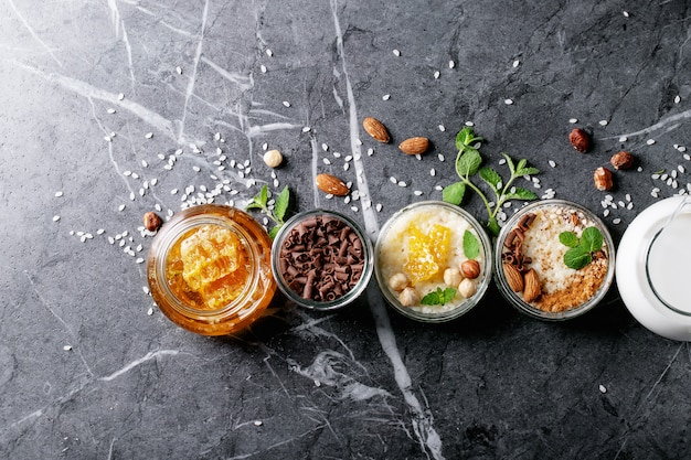 Rice pudding with honey and cinnamon Premium Photo