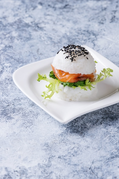 Rice sushi burger Premium Photo