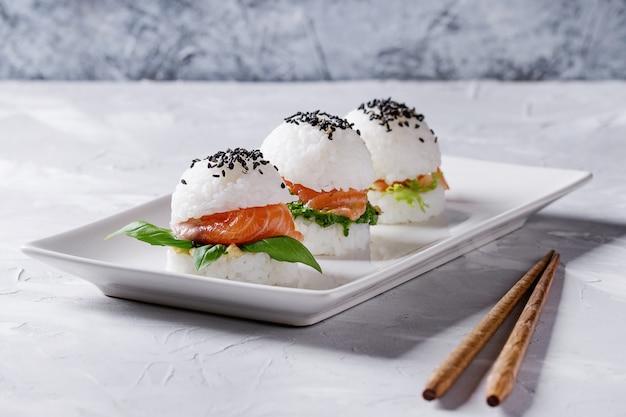 Rice sushi burgers Premium Photo