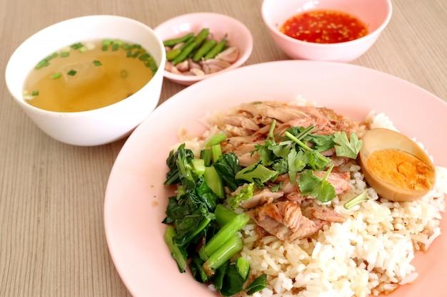 Rice with pork leg Premium Photo