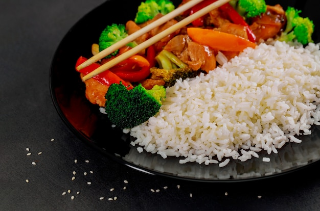 Rice with teriyaki chicken in japanese style set and ready to eat Premium Photo