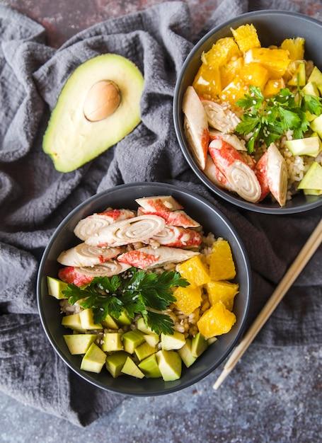 アボカドと野菜のrice 無料写真