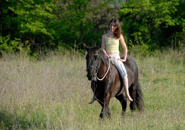 乗馬女性 Premium写真