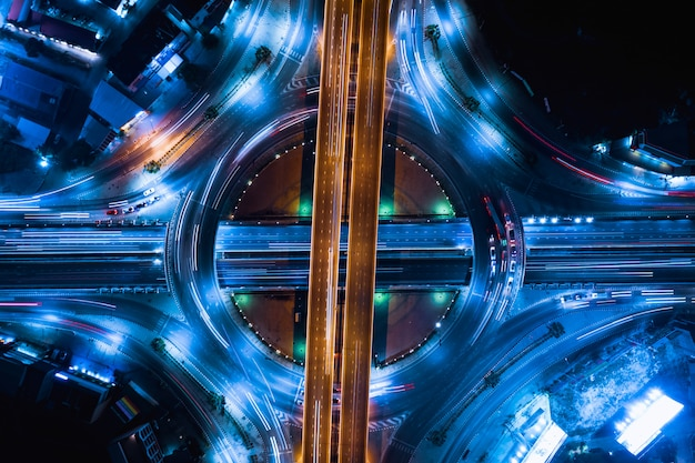 Ring road industry connections for transportation and logistics business at night Premium Photo
