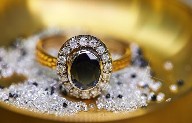 Ring with diamonds and sapphire Premium Photo