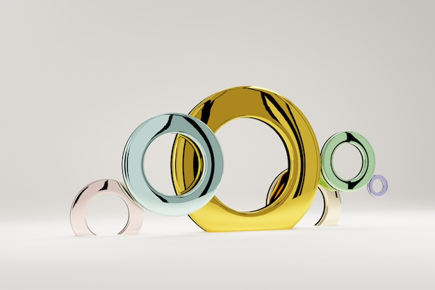 Rings multi-colored from glossy, for a banner or a poster. minimalism, abstract geometric shapes and forms background 3d render. Premium Photo