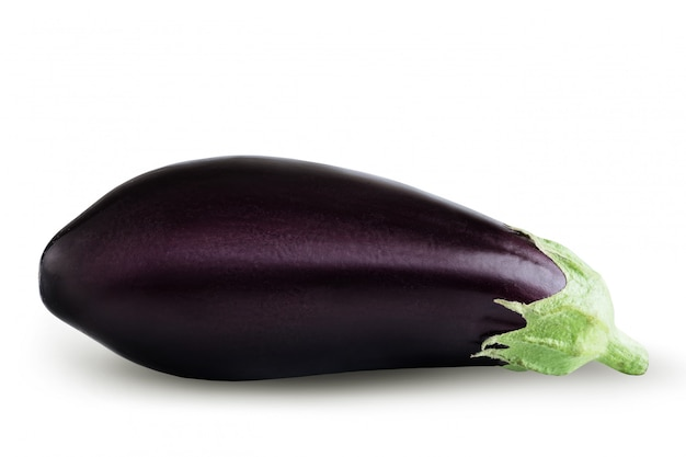 Ripe eggplant on white background Premium Photo
