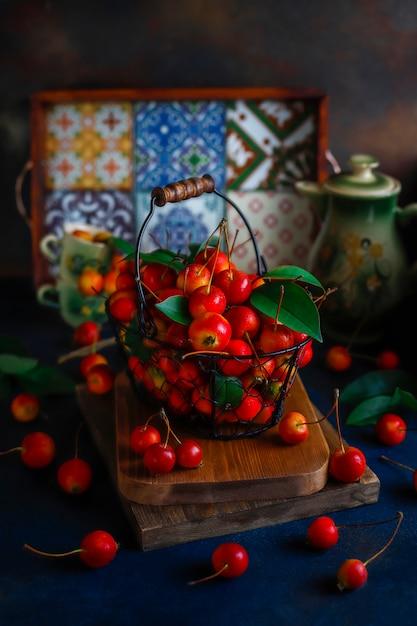 Ripe red apples in storage food basket Free Photo