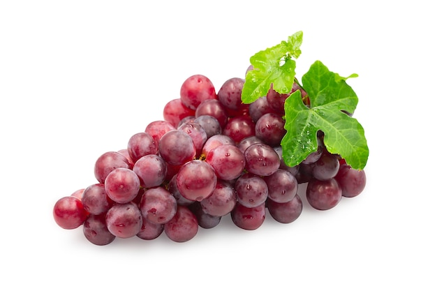 Premium Photo | Ripe red grapes with leaves on white background