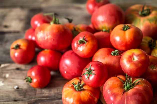 Ripe tomatoes on wooden background Free Photo