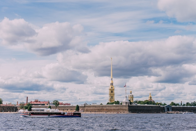River boats on the neva river, peter and paul fortress Premium Photo