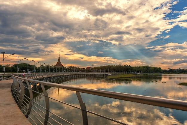River bridge with sunset Premium Photo