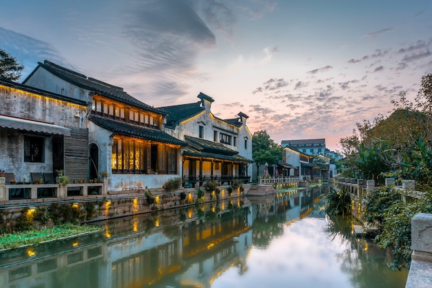 River houses in dangkou ancient town Premium Photo