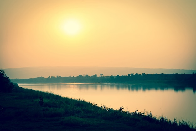 The river and mountains at sunset Premium Photo