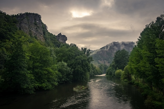 River surrounded by rocks covered in mosses and forests under the sunlight and a cloudy sky Free Photo