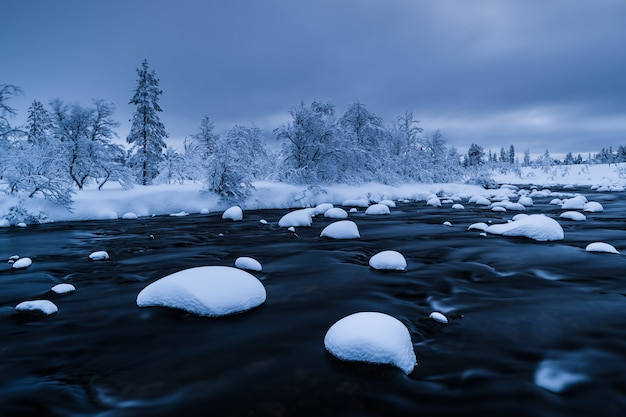 River with snow in it and a forest near covered with snow in winter in sweden Free Photo