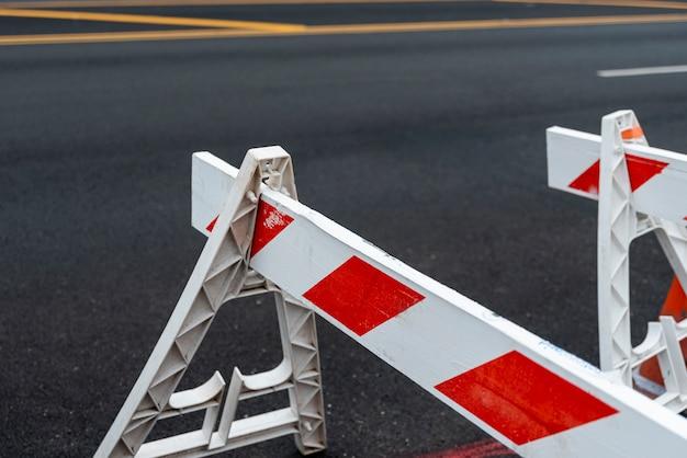 Road block signs closeup Free Photo
