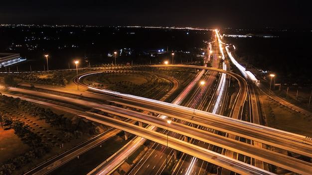 Over road city highway at night Premium Photo