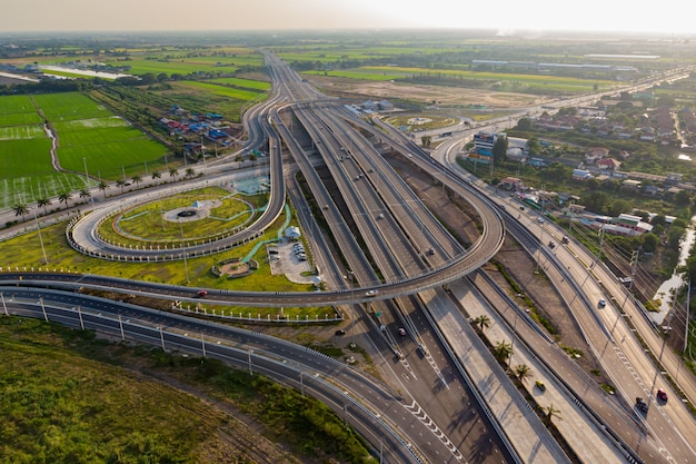 Road of expressway top view, road traffic an important infrastructure Premium Photo