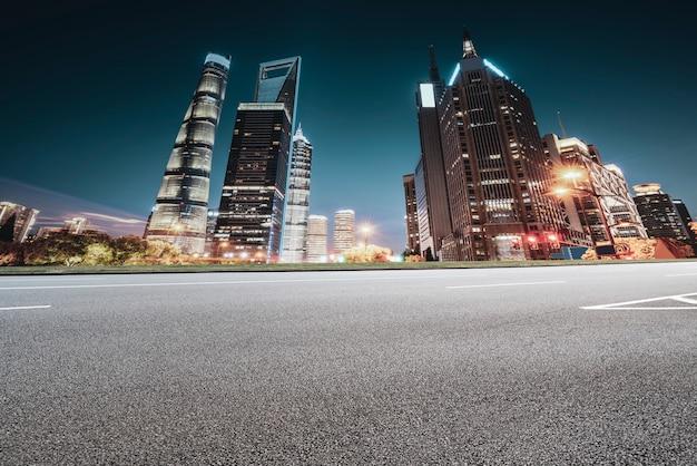 Road ground and urban modern architectural landscape skyline Premium Photo