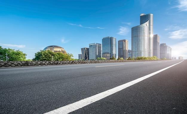 Road ground and urban modern architectural landscape Premium Photo
