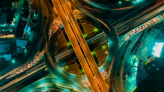 Road and roundabout top view, road traffic an important infrastructure in thailand Premium Photo