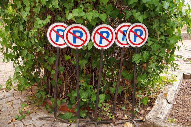 Road signs are prohibited parking stand in a green shrub Premium Photo