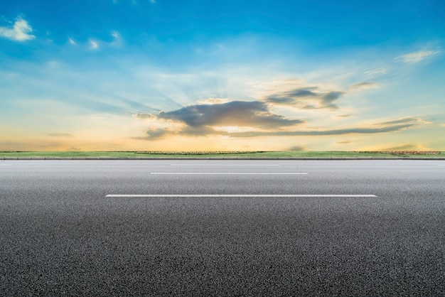 Road surface and sky natural landscape Premium Photo