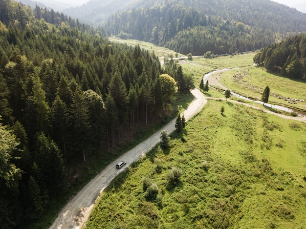 Road through mountains and forest captured from above Premium Photo