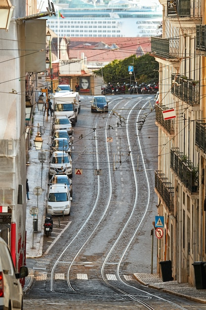 Road with rails in lisbon portugal Premium Photo
